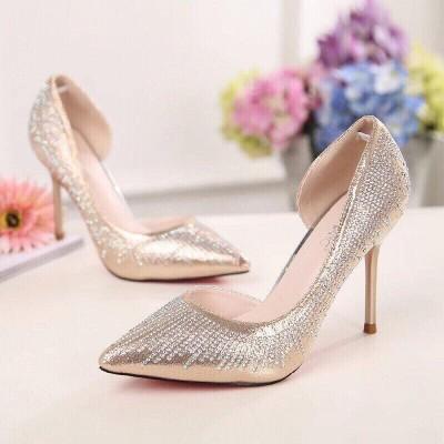 Giày gót cao đính đá 7cm