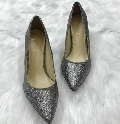 Giày cao gót kim tuyến màu bạc