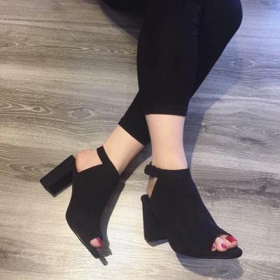 Giày gót vuông nhung 8cm